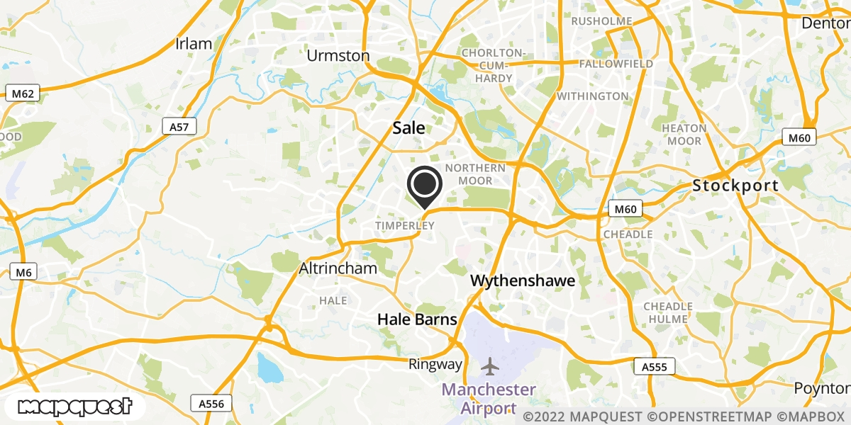 local map of watch repair drop off points in Altrincham, Cheshire | Repairs by Post