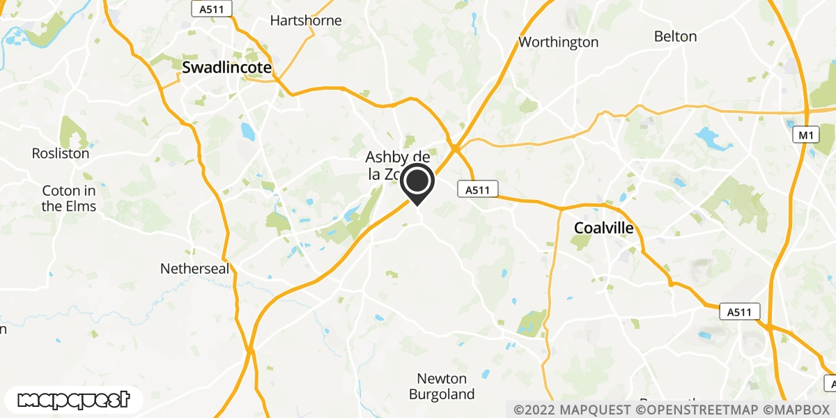 local map of watch repair drop off points in Ashby-De-La-Zouch, Leicestershire | Repairs by Post