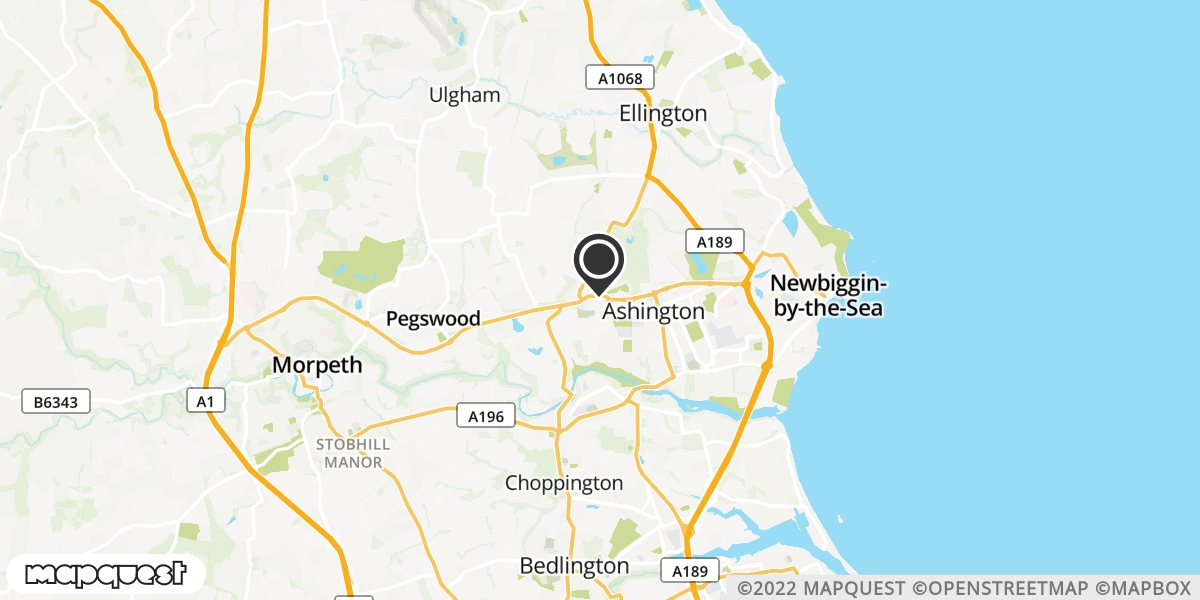local map of watch repair drop off points in Ashington, Northumberland   Repairs by Post
