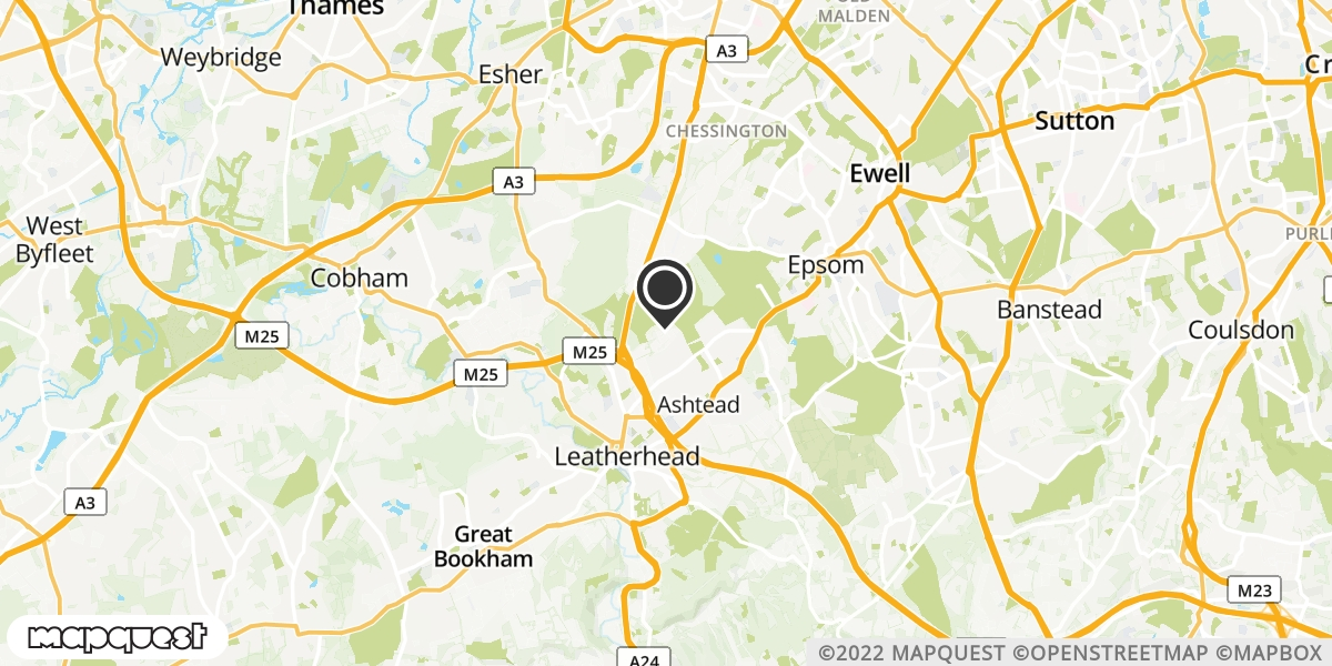 local map of watch repair drop off points in Ashtead, Surrey | Repairs by Post