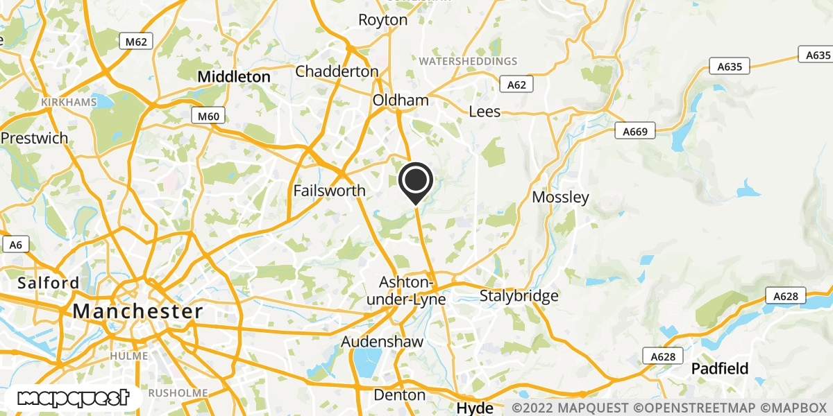 local map of watch repair drop off points in Ashton-under-Lyne, Lancashire | Repairs by Post