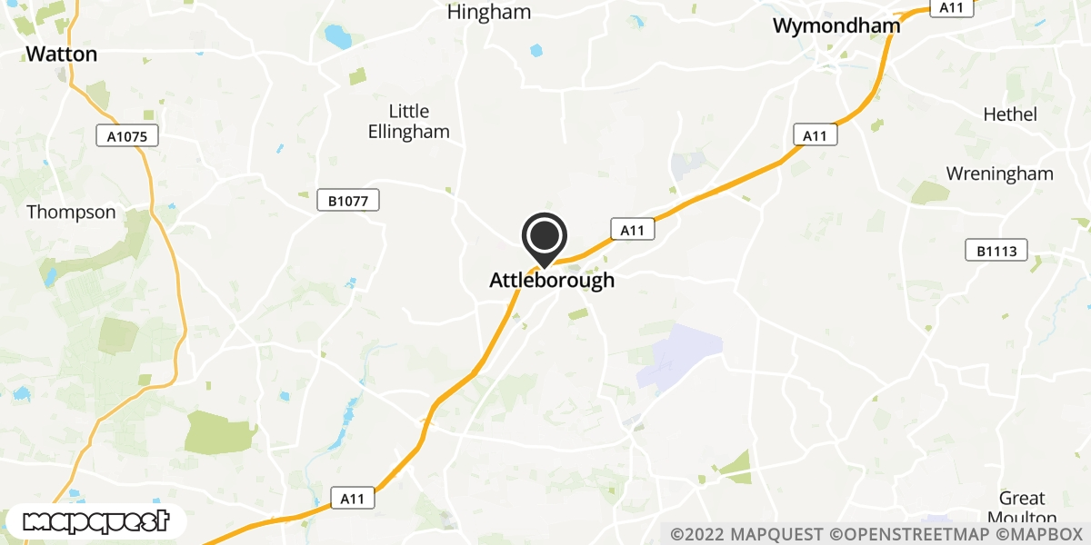 local map of watch repair drop off points in Attleborough, Norfolk | Repairs by Post