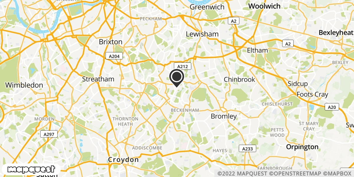local map of watch repair drop off points in Beckenham, Kent | Repairs by Post
