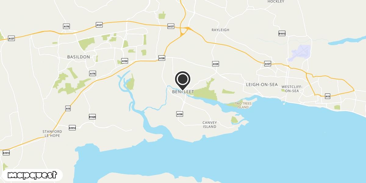 local map of watch repair drop off points in Benfleet, Essex | Repairs by Post