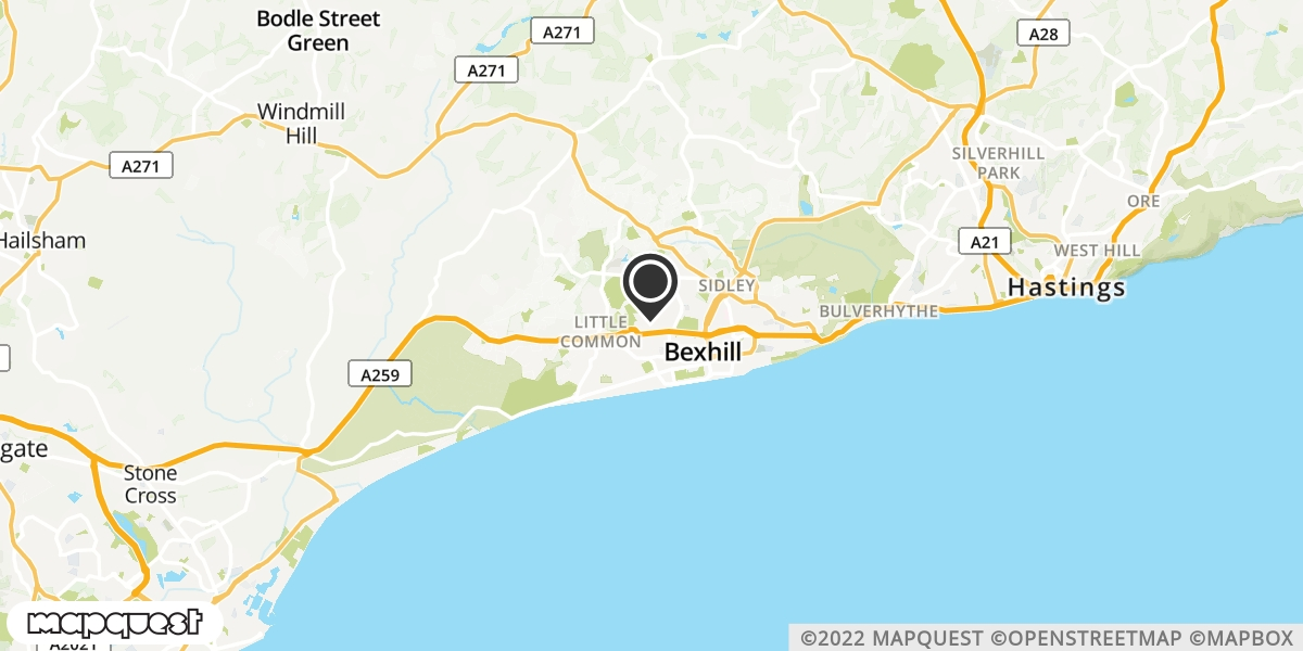 local map of watch repair drop off points in Bexhill-on-Sea, East Sussex | Repairs by Post