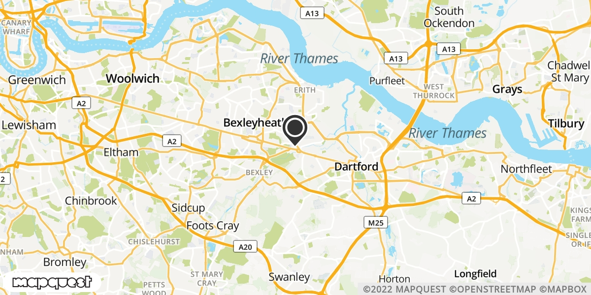 local map of watch repair drop off points in Bexley, Kent | Repairs by Post