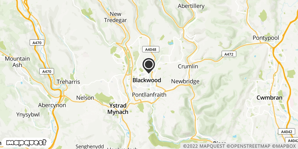 local map of watch repair drop off points in Blackwood, Gwent | Repairs by Post