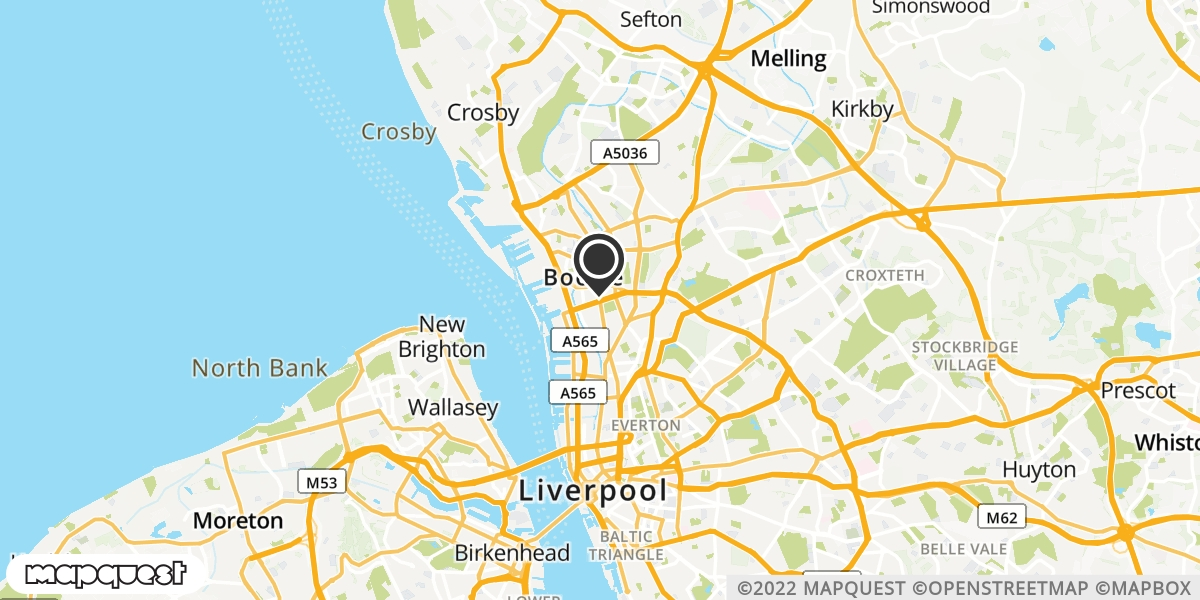 local map of watch repair drop off points in Bootle, Merseyside | Repairs by Post