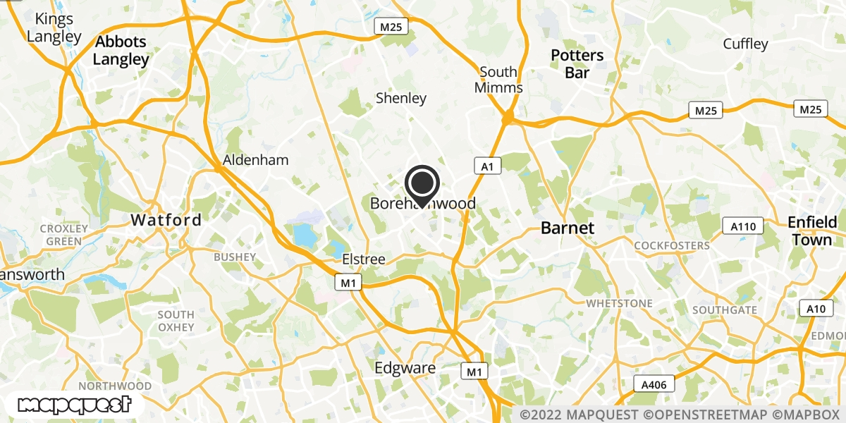 local map of watch repair drop off points in Borehamwood, Hertfordshire | Repairs by Post