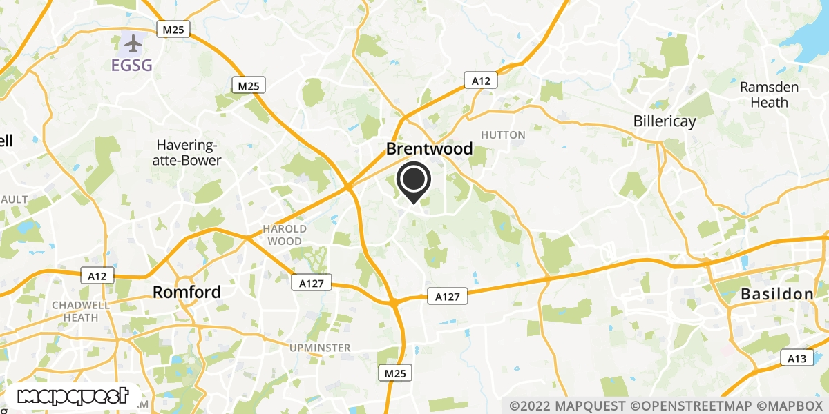 local map of watch repair drop off points in Brentwood, Essex | Repairs by Post
