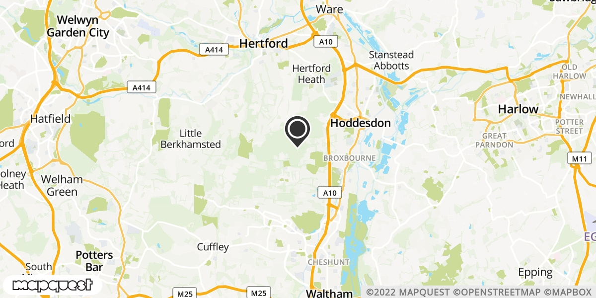local map of watch repair drop off points in Broxbourne, Hertfordshire | Repairs by Post