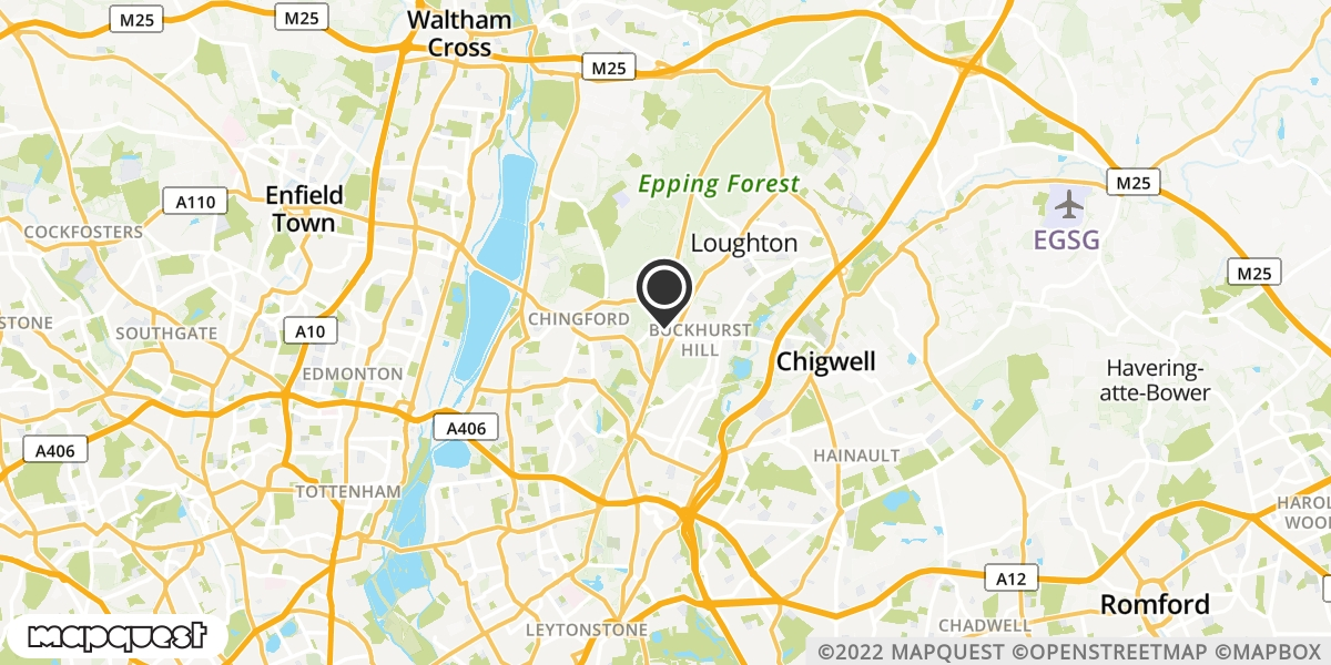 local map of watch repair drop off points in Buckhurst Hill, Essex   Repairs by Post