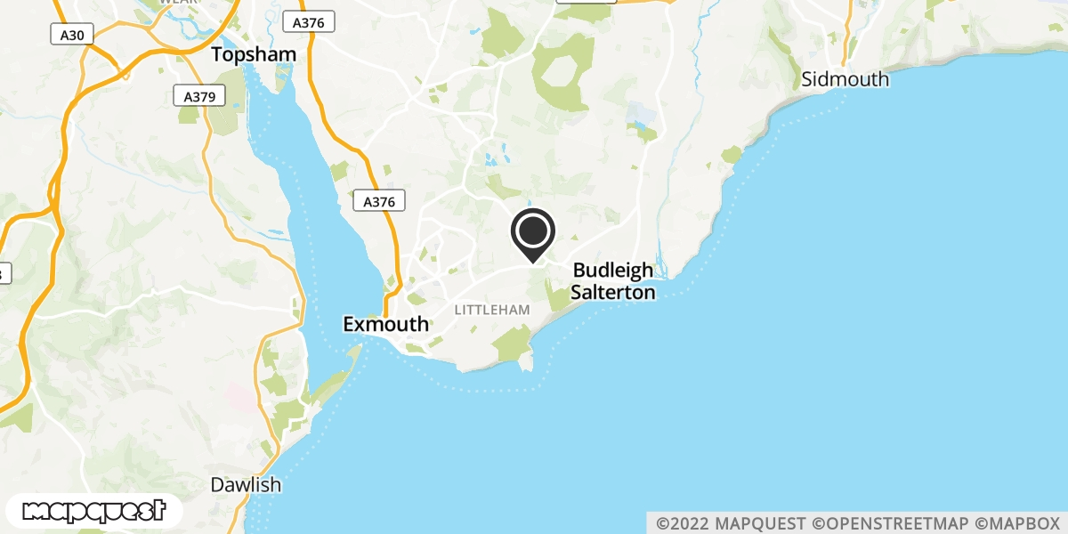 local map of watch repair drop off points in Budleigh Salterton, Devon | Repairs by Post