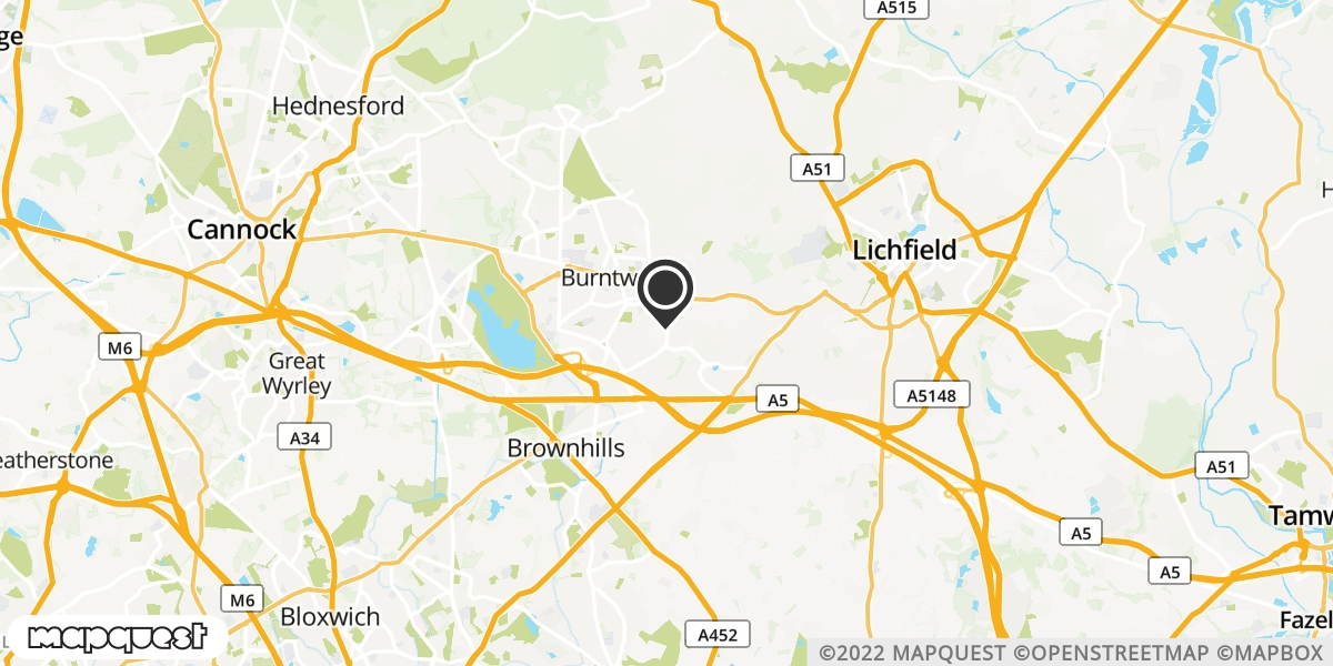 local map of watch repair drop off points in Burntwood, Staffordshire | Repairs by Post