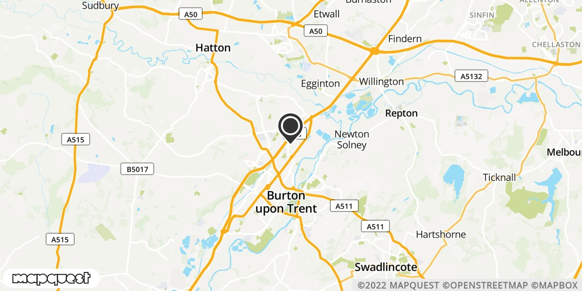 local map of watch repair drop off points in Burton Upon Trent, Derbyshire   Repairs by Post