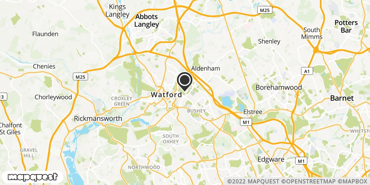 local map of watch repair drop off points in Bushey, Hertfordshire | Repairs by Post