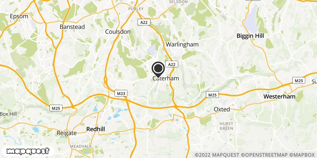 local map of watch repair drop off points in Caterham, Surrey | Repairs by Post