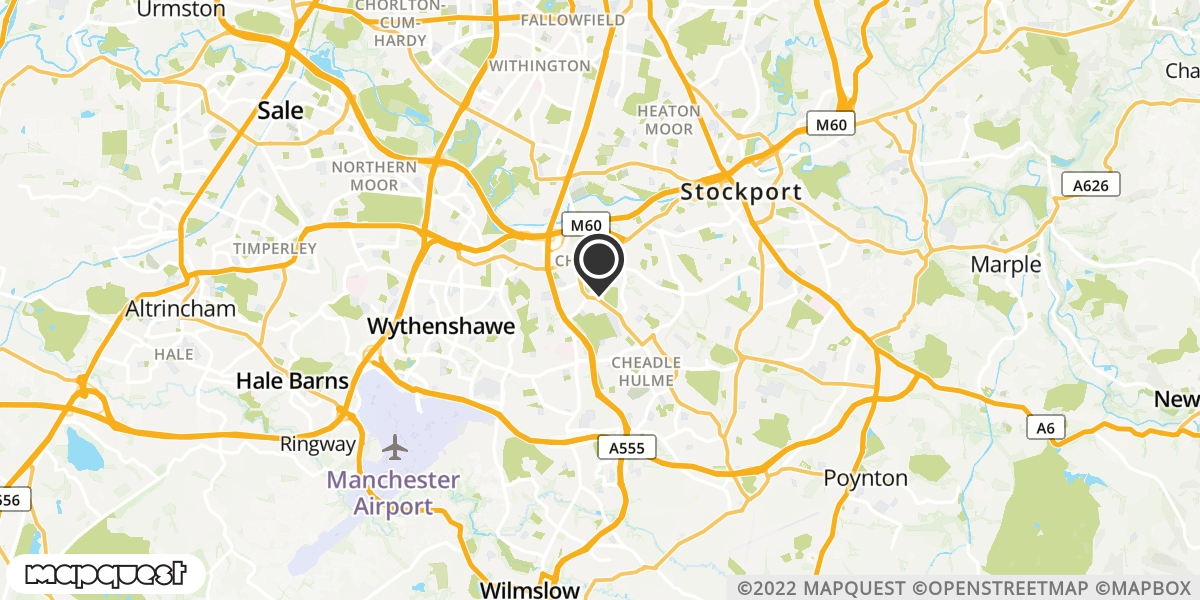 local map of watch repair drop off points in Cheadle, Cheshire | Repairs by Post