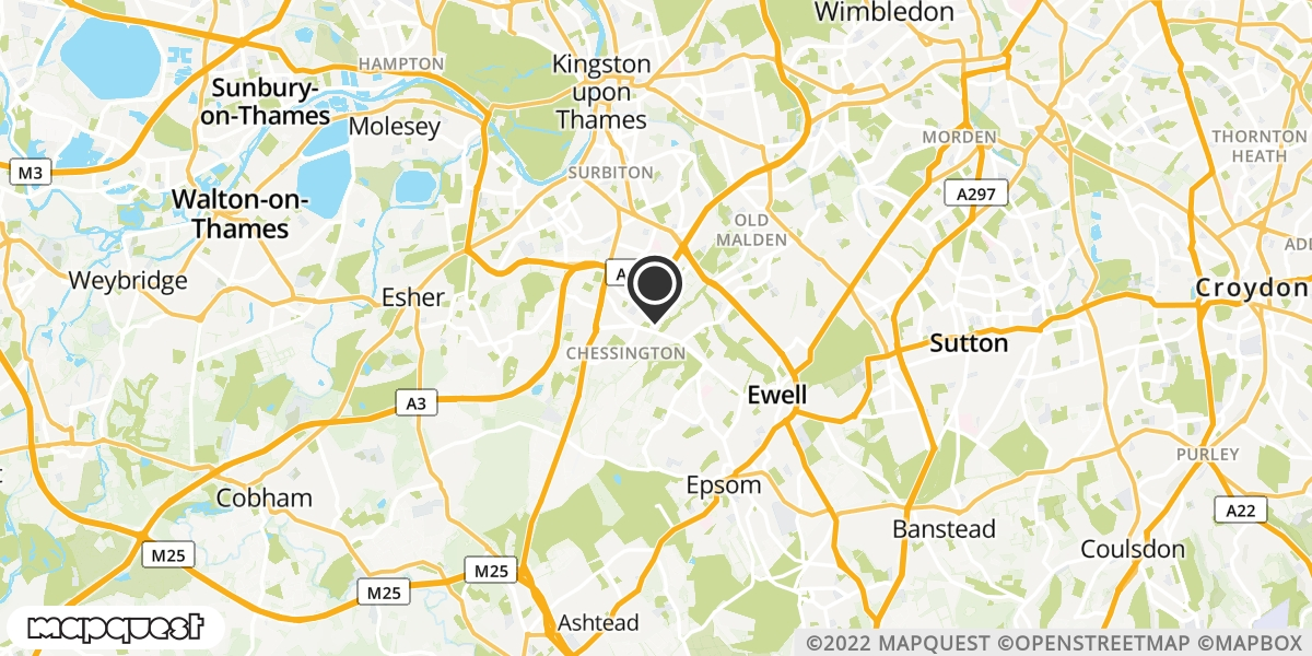 local map of watch repair drop off points in Chessington, Surrey | Repairs by Post