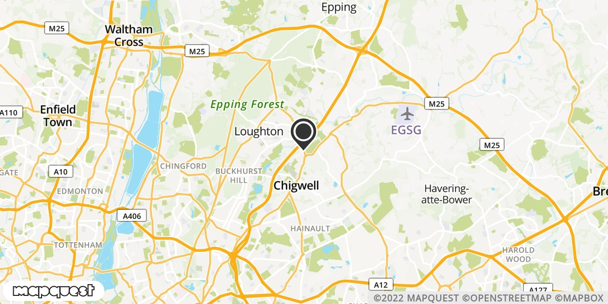 local map of watch repair drop off points in Chigwell, Essex | Repairs by Post