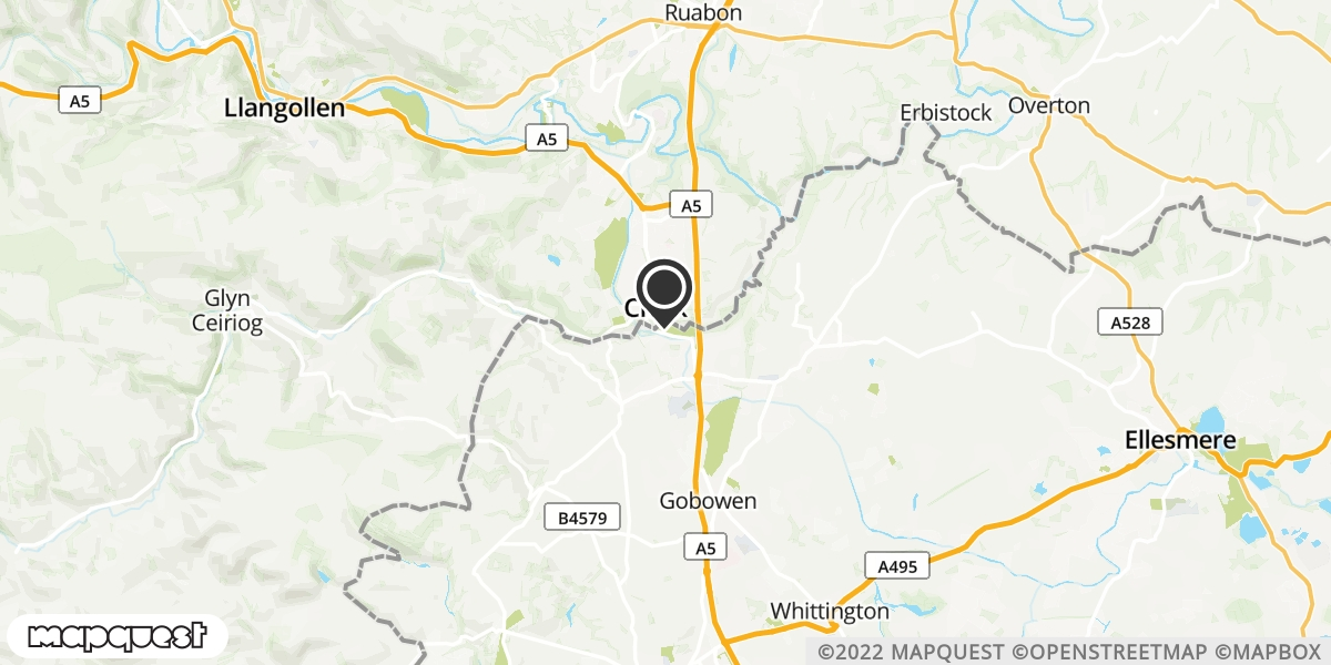local map of watch repair drop off points in Chirk, Wrexham   Repairs by Post