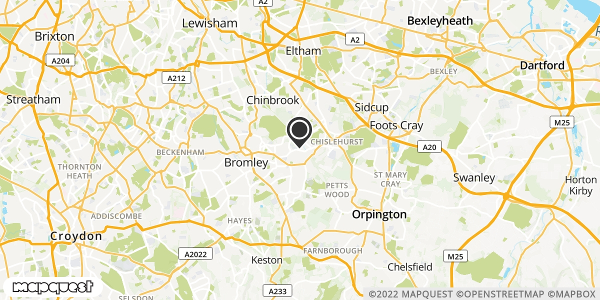 local map of watch repair drop off points in Chislehurst, Kent | Repairs by Post