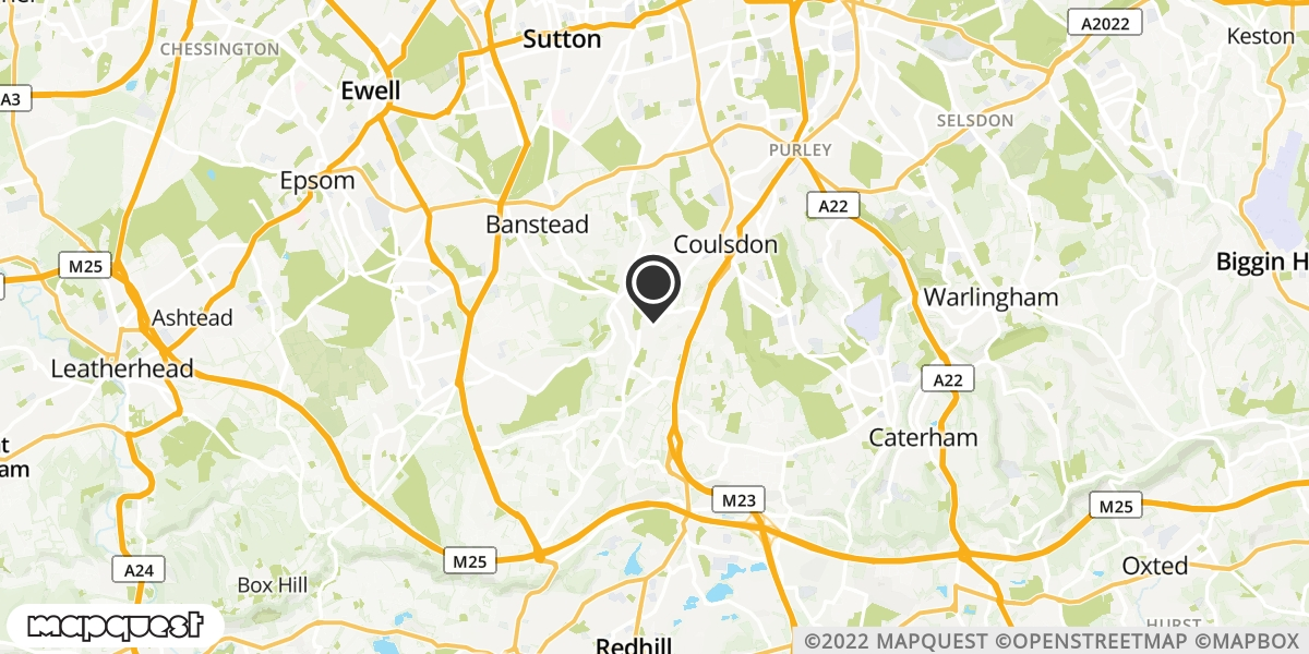 local map of watch repair drop off points in Coulsdon, Surrey   Repairs by Post