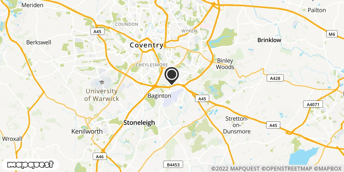 local map of watch repair drop off points in Coventry, West Midlands | Repairs by Post