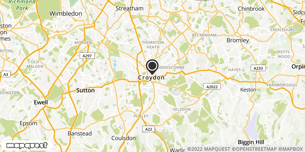 local map of watch repair drop off points in Croydon, Surrey | Repairs by Post
