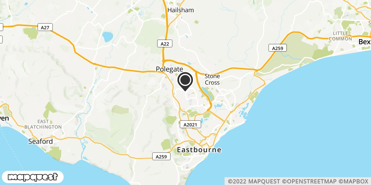 local map of watch repair drop off points in Eastbourne, East Sussex | Repairs by Post