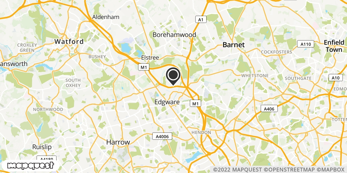local map of watch repair drop off points in Edgware, Middlesex | Repairs by Post