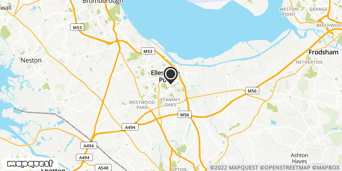 local map of watch repair drop off points in Ellesmere Port, South Wirral   Repairs by Post