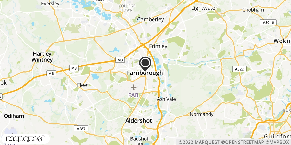 local map of watch repair drop off points in Farnborough, Hampshire | Repairs by Post