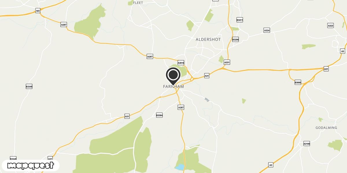 local map of watch repair drop off points in Farnham, Surrey | Repairs by Post