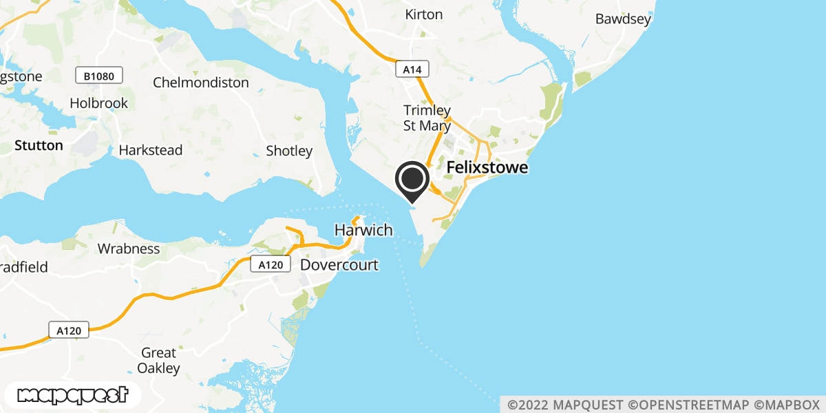 local map of watch repair drop off points in Felixstowe, Suffolk | Repairs by Post