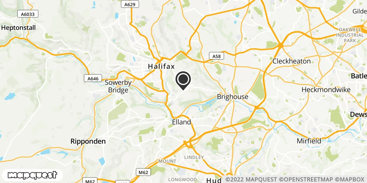 local map of watch repair drop off points in Halifax, West Yorkshire | Repairs by Post