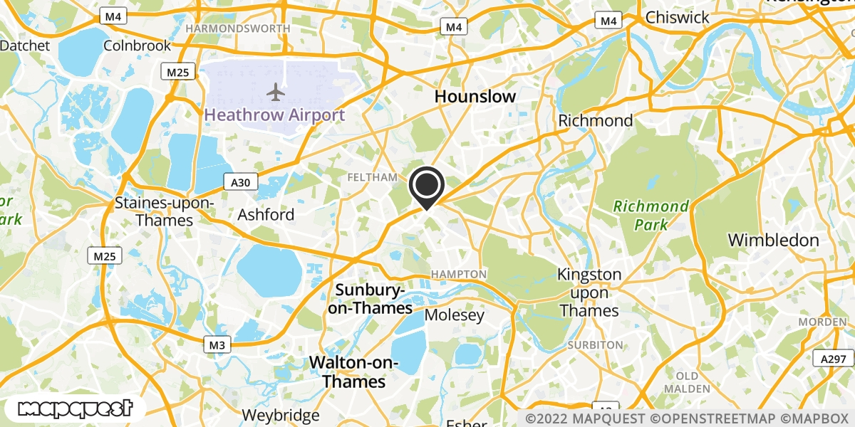 local map of watch repair drop off points in Hampton, Middlesex | Repairs by Post