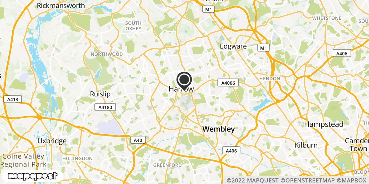 local map of watch repair drop off points in Harrow, Middlesex | Repairs by Post