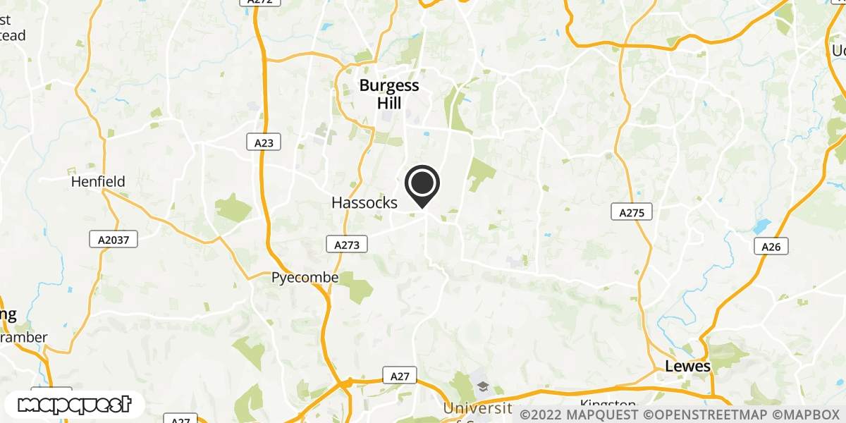 local map of watch repair drop off points in Hassocks, West Sussex | Repairs by Post