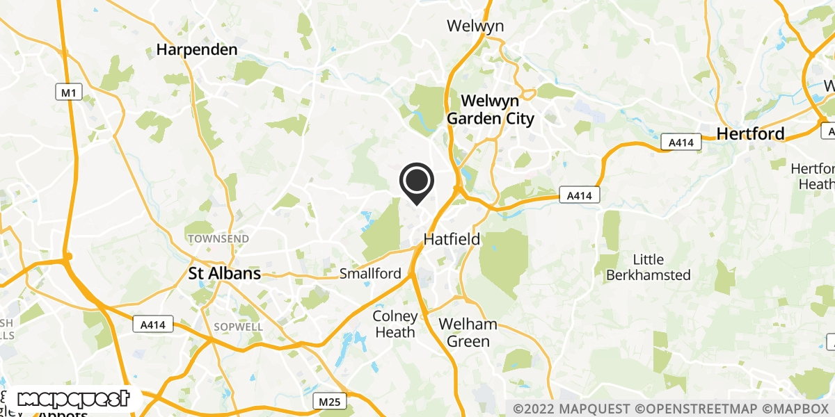 local map of watch repair drop off points in Hatfield, Hertfordshire | Repairs by Post