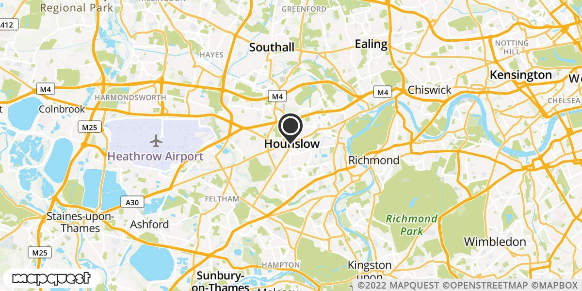 local map of watch repair drop off points in Hounslow, Middlesex | Repairs by Post