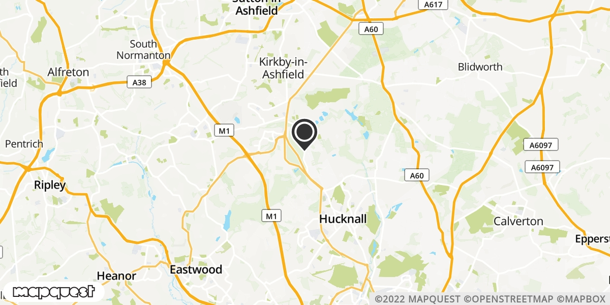 local map of watch repair drop off points in Hucknall, Nottinghamshire | Repairs by Post
