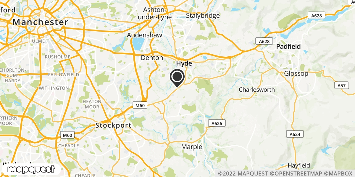 local map of watch repair drop off points in Hyde, Cheshire | Repairs by Post