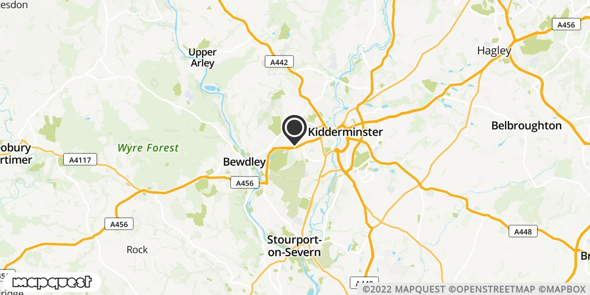 local map of watch repair drop off points in Kidderminster, Worcestershire | Repairs by Post