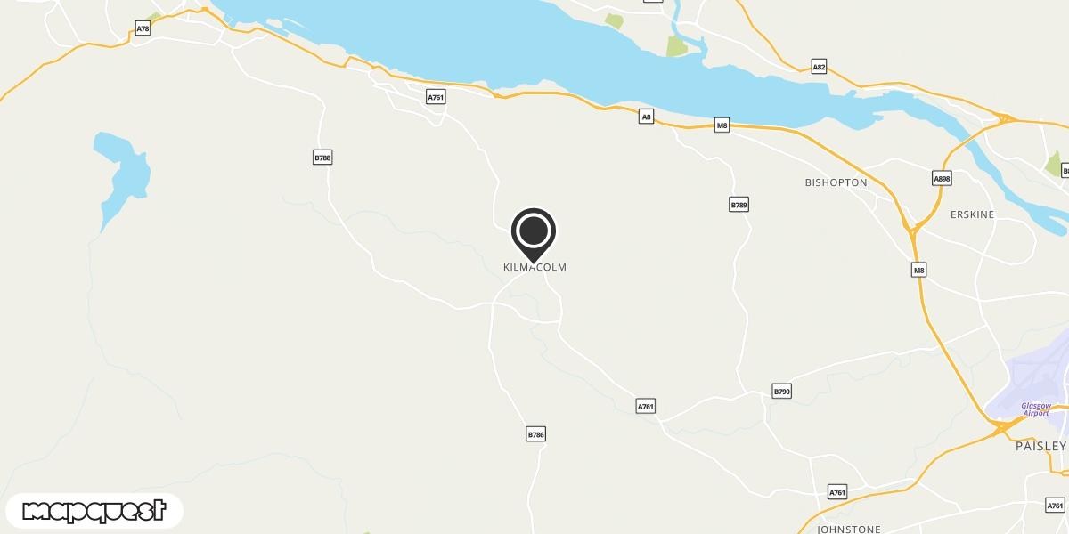 local map of watch repair drop off points in Kilmacolm, Renfrewshire   Repairs by Post