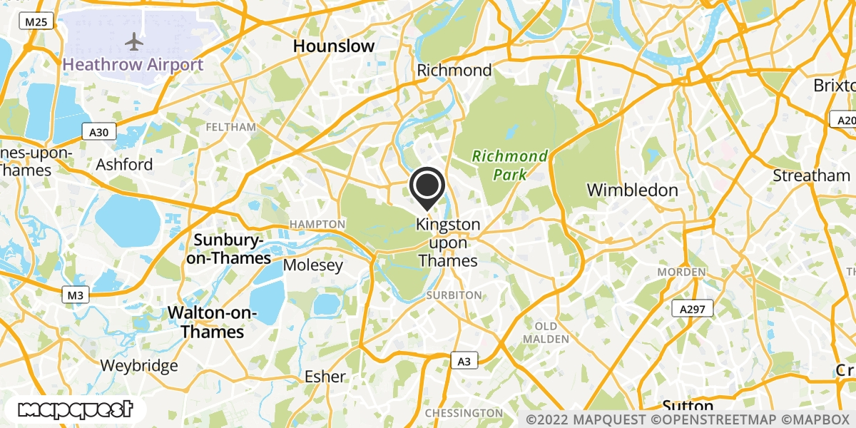 local map of watch repair drop off points in Kingston-On-Thames, Surrey | Repairs by Post