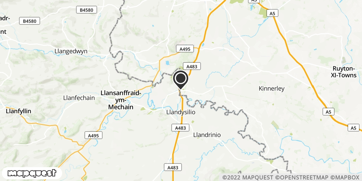 local map of watch repair drop off points in LLANYMYNECH, Powys | Repairs by Post