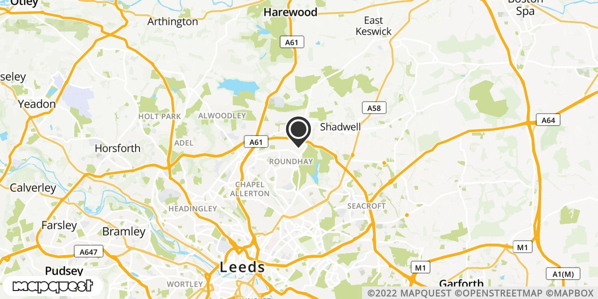 local map of watch repair drop off points in Leeds, West Yorkshire | Repairs by Post
