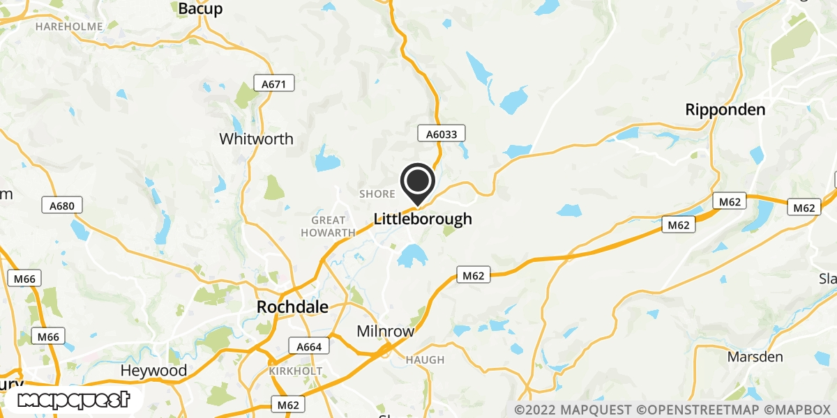 local map of watch repair drop off points in Littleborough, Lancashire | Repairs by Post