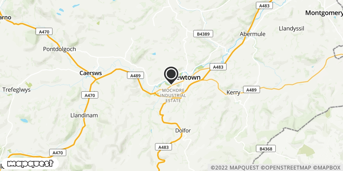 local map of watch repair drop off points in Llanidloes, Powys | Repairs by Post